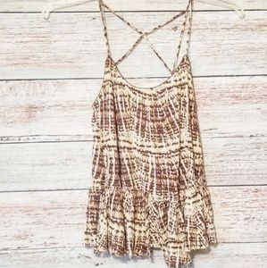 Free People Tank Top Boho Size Small Brown Cream